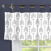 Carousel Designs Cloud Grey Arrow Window Valance Tab-Top