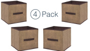 Storage Cube Organiser - Small Collapsible Storage Cubes in Brown (4) Closet Organisers - Storage Container With Handle - Under The Bed Storage Drawers