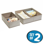 mDesign Fabric Baby Nursery Organiser for Clothing, Towels, Nappies, Lotion, Wipes - Set of 2, Taupe/Natural