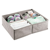 mDesign Fabric Baby Nursery Closet Organiser for Clothes, Towels, Socks, Shoes - 4 Compartments, Linen