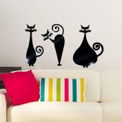 Wall Stickers ZTY66, Removable 3Pcs Cats Mirror Mural Stickers for DIY Home Decor