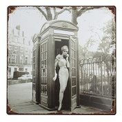 KISSMYTWINS Telephone Booth Lady Tin Sign Vintage Metal Plaque Poster Bar Pub Home Wall Decor