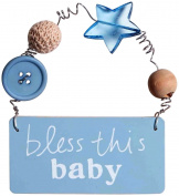 C.R. Gibson Inspirational Wood Wall Plaque by Sandra Magsamen, Perfect Nusery Décor, Measures 10cm x 5.1cm - Bless This Baby