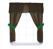 Baby Doll Bedding Reversible 5-Piece Window Valance Curtain Set, Brown/Green