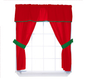 Baby Doll Bedding Reversible 5-Piece Window Valance Curtain Set, Red/Green