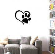 BIBITIME Adorable Puppy Paw Heart Decal Valentine's Day Cuddly Dog Footprint Sticker Pet Window Vinyl Decor for Couple Bedroom Nursery Kids Room,DIY 45cm x 50cm