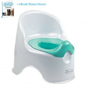 Kid's Loo Pottty, Kid's Toilet Trainer, Removable Cover For Easy Clean, Back Support, Front Sprinkle Protection, White-Green & eBook Home Decor