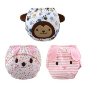 Baby Boy Girl Washable 3 Pack Cartoon Toilet Training Pants Cloth Nappy Nappy Underwear 0-12M