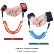Uarter Child Anti Lost Belts Anti-lost Wrist Straps Anti-lost Wrist Link Anti-lost Wristband, 2Pcs, Red and Blue