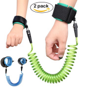 2 Pack Baby Child Anti-Lost Wrist Belt Link, Outdoor Safety Hook and loop Toddler Leash by Accmor (150cm Blue + 250cm Green) [Enhancement Version]