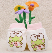 IVYRISE 3 Pairs Baby Scratch Protecting Gloves Baby Gloves Boys Girls Soft Cotton Fabric Anti-scratch Mitten with Adjustable Tying Rope, 3 Pairs Pink Frog