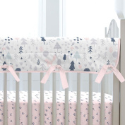 Carousel Designs Pink and Navy Baby Woodland Crib Rail Cover