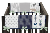 Baby Crib Side Rail Guard Wrap Covers Teething Protector for Navy Blue, Mint and Grey Woodsy Boy Bedding Collection