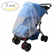 Johouse Multifunctional Baby Mosquito Net Netting Mosquito Insect Bee Bug Net Fits Most Strollers Bassinets,2 PCS