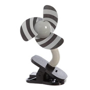 Tee-Zed T02 Clip-On Fan Great for the Beach, Pool, Camping, Work, Lounging or Just Chillin'! - Silver Black