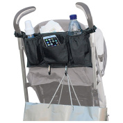 Stroller Organiser Bag with 2Hooks, Universal Fit Stroller Attached Hanging Storage Bag Car Back Seat Caddy Organiser, Extra Space for Smart Mom & Parent Console,Great for Nappies,Milk Bottle,Phone,Pram