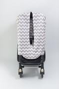 Bambella Designs Stroller Privacy Curtain - Chevron Grey