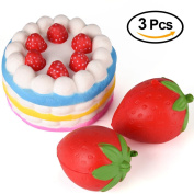 Kuuqa 3 Pcs Squishies Slow Rising Jumbo Rainbow Squishy Cake and Strawberry Fruit Charms Squishy Toys Stress Relief Toys Party Favours