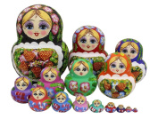 Perfect Mother's Day Gift Set of 15 Big Bulky Strawberry Colourful Basswood Wooden Traditional Russian Nesting Dolls Matryoshka Kids Stacking Toys Christmas Birthday Festival Gifts
