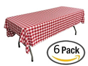 Pack of 6 Plastic Red and White Chequered Tablecloths - 6 Pack - Picnic Table Covers