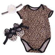 Gemini_mall® 3pcs Newborn Infant Baby Girl Floral Rompers Bodysuit + Shoes + Headband Clothes Outfit Set 0~12 months