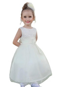 Lito Angels Girls' Beaded Satin Tulle Flower Girl Dresses Bridesmaid Dress For Wedding Special Occasion Party
