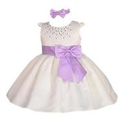 Lito Angels Baby Girls' Rhinestones Satin Flower Girl Dress Birthday Party Christening Dresses With Headband