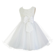 Lito Angels Girls' Pearls Beaded Embellishment Flower Girl Bridesmaid Dresses Party Occasion Dress