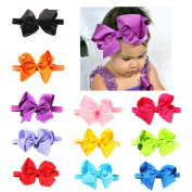 BrilliantDay 11 PCS Turban Headband Kids Hair Bows for Babies