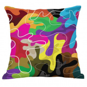 YeeJu Square Nordic Colourful Block Geometric Cotton Linen Throw Pillow Case Decorative Cushion Cover Pillowcase 46cm x 46cm