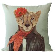 YeeJu Modern Style Mr Animals Car Decor Home Sofa Decoration Cotton Linen Pillow Case Cushion Cover 46cm x 46cm