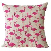 YeeJu Square Red Hot Flamingo Cotton Linen Throw Pillow Case Decorative Cushion Cover Sofa Home Pillowcases 41cm x 41cm