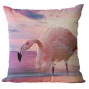 YeeJu Square Red Hot Flamingo Cotton Linen Throw Pillow Case Decorative Cushion Cover Sofa Home Pillowcases 46cm x 46cm