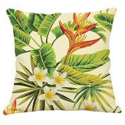 YeeJu Square Nordic Style Tropical Plants Cotton Linen Throw Pillow Case Cushion Cover Sofa Home Decor Pillowcases 46cm x 46cm