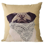 YeeJu Square Dog Cotton Linen Decorative Throw Pillow Cases Cushion Cover Sofa Home Pillowcases 41cm x 41cm