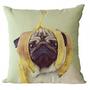 YeeJu Square Dog Cotton Linen Decorative Throw Pillow Cases Cushion Cover Sofa Home Pillowcases 46cm x 46cm