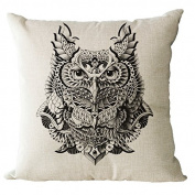 YeeJu Square Owl Cotton Linen Decorative Throw Pillow Cases Cushion Cover Sofa Home Pillowcases 41cm x 41cm