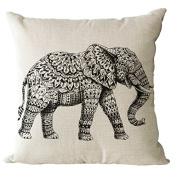 YeeJu Square Elephant Cotton Linen Decorative Throw Pillow Cases Cushion Cover Sofa Home Pillowcases 41cm x 41cm