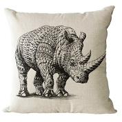 YeeJu Square Rhinoceros Cotton Linen Decorative Throw Pillow Cases Cushion Cover Sofa Home Pillowcases 41cm x 41cm