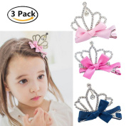 Children's Bowknot Hair Ornaments Side Clip Diamond Princess Crown Bow Tie Hair Clips Headdress For Girls Pack of 3