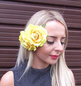 Starcrossed Boutique Large Yellow Double Rose Flower Hair Clip Rockabilly 1950s Vintage Big Boho 3061