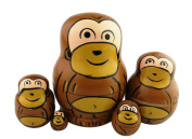 Set of 5 Cute Mini Animal Theme Brown Monkey Handmade Wooden Russian Nesting Dolls Matryoshka Dolls for Kids Toy Birthday Christmas Gift Home Decoration