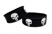 Punisher Skull Logo Repeat Pattern Set of 2 Rubber Bracelet WRISTBANDS