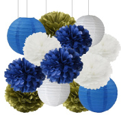 Furuix Big Size White Navy Blue Gold 30cm Tissue Paper Pom Pom Paper Lanterns for Navy Blue Themed Party Wedding Paper Garland, Bridal Shower Decor Baby Shower Decoration