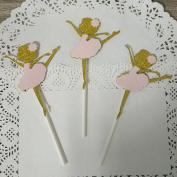 24 CT Gold Ballerina Cupcake Toppers - by Giuffi