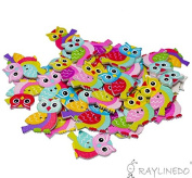 RayLineDo 30pcs Night Owl Buttons 2 Holes Various Colours Wooden Buttons for DIY Sewing and Crafting