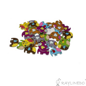 RayLineDo Pack of 30pcs Mixed Colour Elephant Buttons 2 Holes Different Patterns Wooden Buttons for Sewing and Crafting