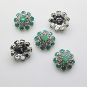 20pcs 20mm Light Green Round Rhinestones Diamond Buttons Decorative Beads DIY Craft Embellishment for Headbands Hair Bows Wedding Bouquet Clothes Accessories with Hole for Sewing