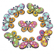 10 Beautiful Assorted Butterfly Shaped Painted Wood Buttons, 3.2cm Button Crafts Scrapbook