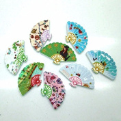 10 Multi Coloured Asian Fan Shaped 3.2cm Assorted 2 Hole Painted Wooden Buttons for Sweaters or Crafts B12715G